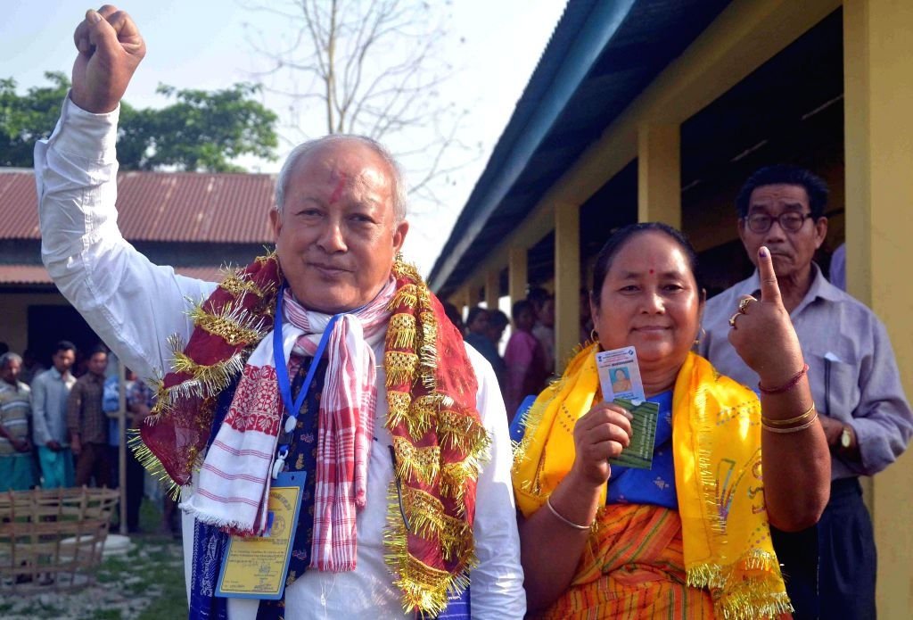 Bodoland People's Front (BPF) leader S K Bwiswmuthiary after casting his vote at a polling booth during the sixth phase of 2014 Lok Sabha Polls in Kokrajhar of Assam on April 24, 2014.