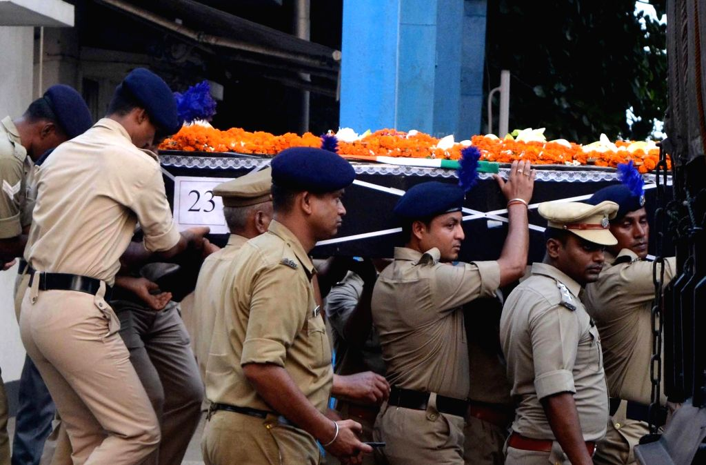 Body of a CRPF martyr Arup Karmakar arrives in Kolkata on April 25, 2017. Karmakar attained martyrdom in a Maoist attack in Sukma of Chhatisgarh on 24th April 2017 the attack that took place ...