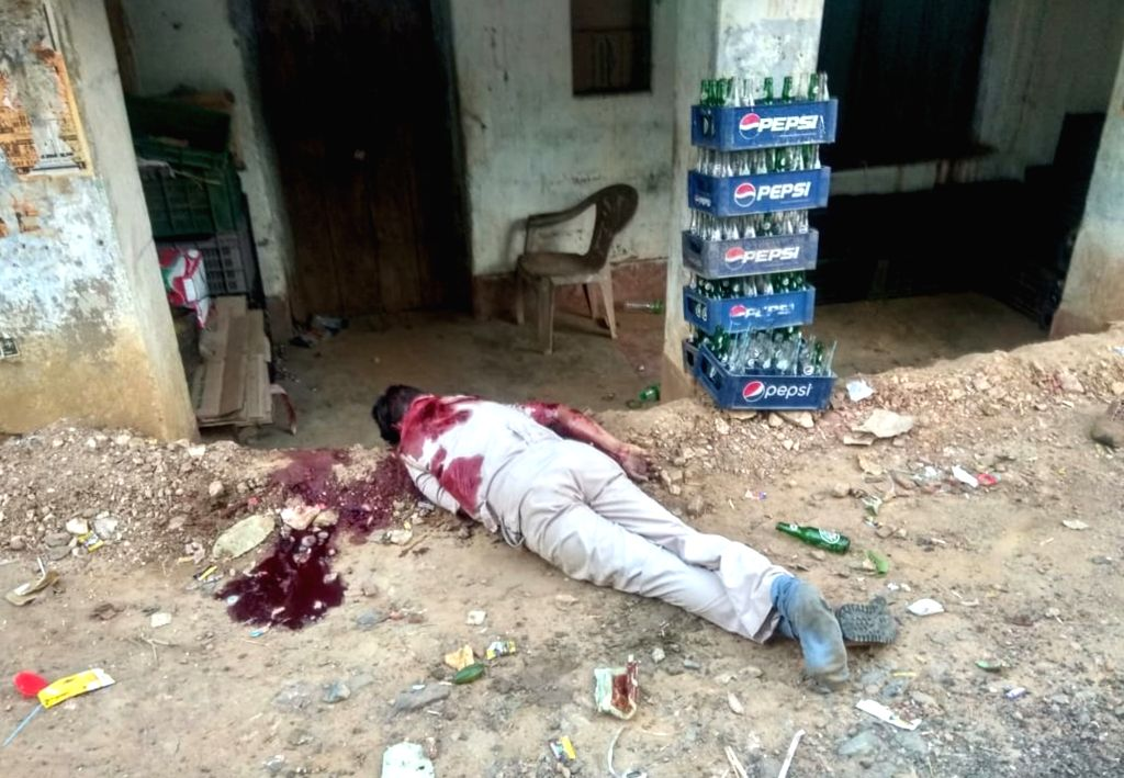 Body of one of the policemen who were killed in a Maoist attack at Kukru village in Seraikela-Kharsawan district of Jharkhand on June 14, 2019.