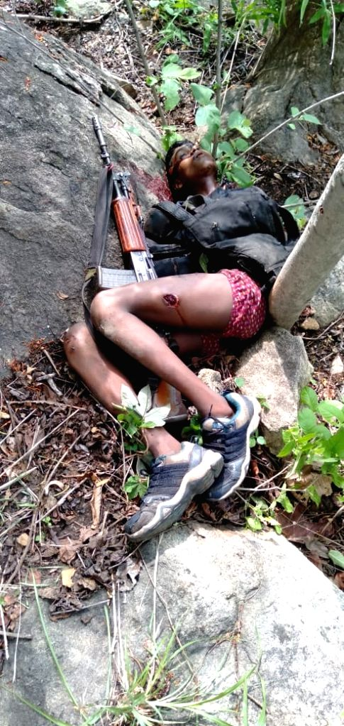Body of one of the three Maoists who were killed in a gunfight between the rebels and security forces in Bihar's Satnadia forest area of the Aurangabad district on July 25, 2019.