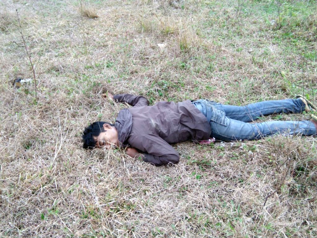 Body of one of the two terrorists shot dead by Assam Rifles at Shankpani in Changlang District of Arunachal Pradesh on Feb 1, 2018. According to an Assam Rifles official, one of the slain ...