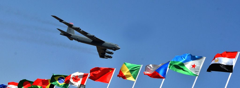 "Boeing B-52 Stratofortress aircraft during ""Aero India 2019"" - air show at Yelahanka Air Force Station, in Bengaluru, on Feb 20, 2019."