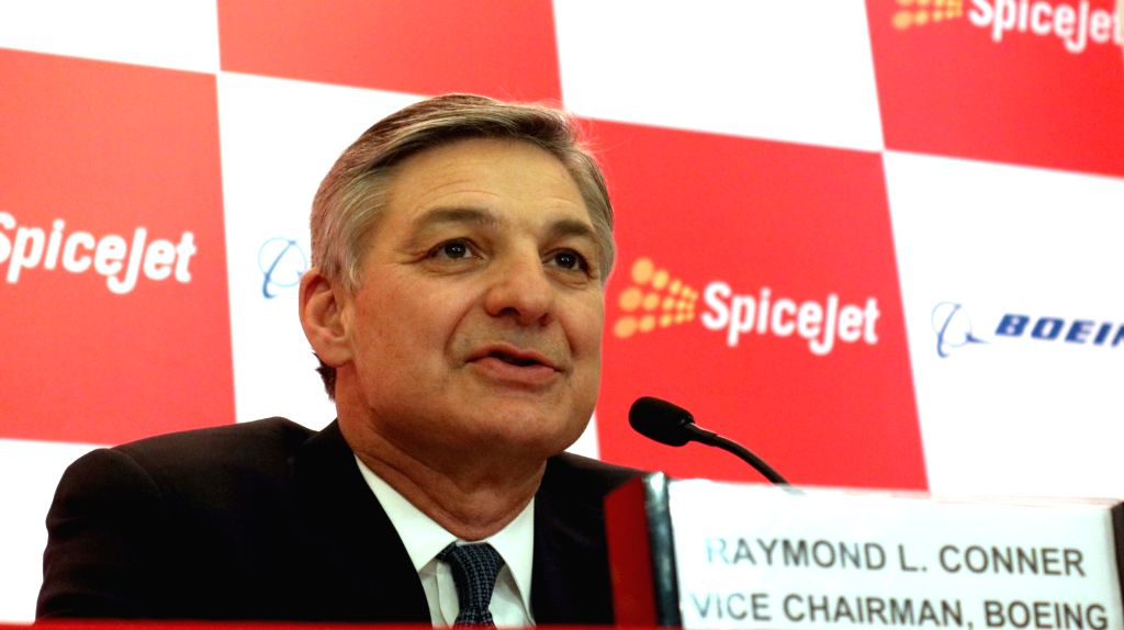 Boeing Vice Chairman Ray L. Conner during a programme organised to sign a joint venture between SpiceJet and Boeing in New Delhi on Jan 13, 2017.