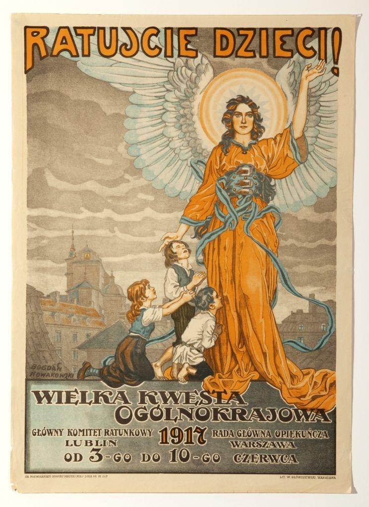 Bogdan Nowakowski (1887-1945); Save the children! Great National Charity Collection 1917; Date: 1917. (Source: Polish Institute, New Delhi)