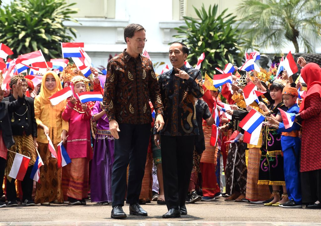BOGOR, Oct. 7, 2019 - Visiting Dutch Prime Minister Mark Rutte (L) meets with Indonesian President Joko Widodo at the presidential palace in Bogor, West Java Province, Indonesia, Oct. 7, 2019. - Mark Rutte