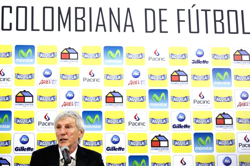Colombia's national soccer team head coach Jose Pekerman participates in a press conference in Bogota, Colombia, on April 16, 2014. Pekerman presented his latest ...