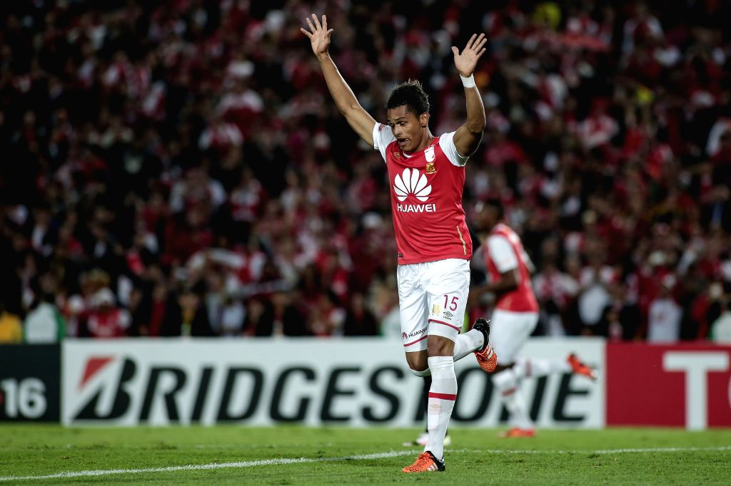 BOGOTA, April 7, 2016 - Antony Otero of Colombia's Independiente Santa Fe celebrates after scoring during the Group 8 match of the Libertadores Cup, against Brazil's Corinthians, held at Nemesio ...