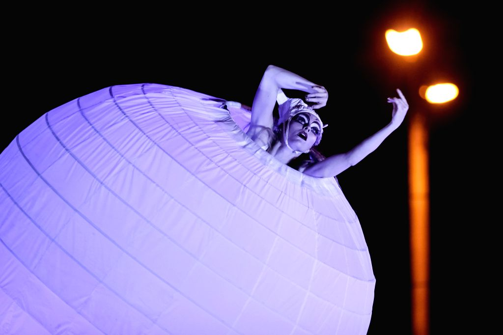 Bogota (Colombia): An artist of the `Strange Fruit` company takes part in the presentation of the play `Spheres` in Bogota, capital of Colombia, on Dec. 9, 2014.