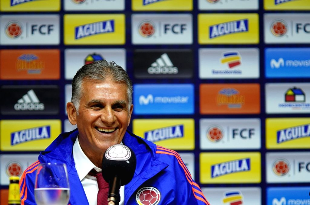 BOGOTA, Feb. 8, 2019 - Carlos Queiroz of Portugal smiles during his presentation as new head coach of the Colombian national soccer team at the headquarters of the Colombian Football Federation (FCF) ...