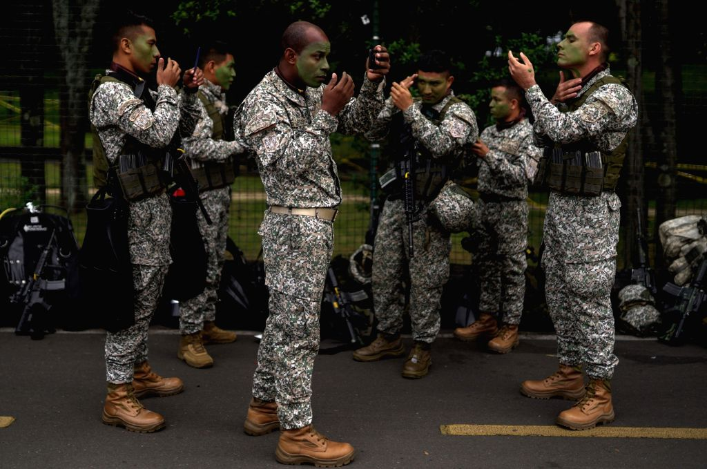 BOGOTA, July 20, 2018 - Soldiers prepare for a military parade for the commemoration of the 208th anniversary of Colombia's Independence, in Bogota, Colombia, on July 20, 2018.