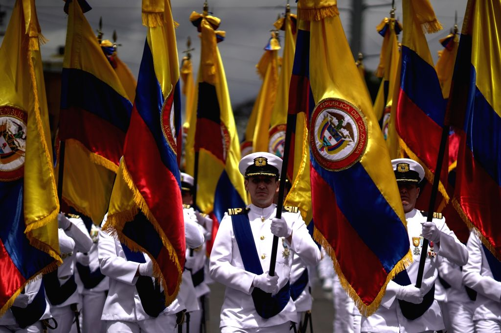 BOGOTA, July 20, 2018 - Soldiers take part in a military parade for the commemoration of the 208th anniversary of Colombia's Independence, in Bogota, Colombia, on July 20, 2018.