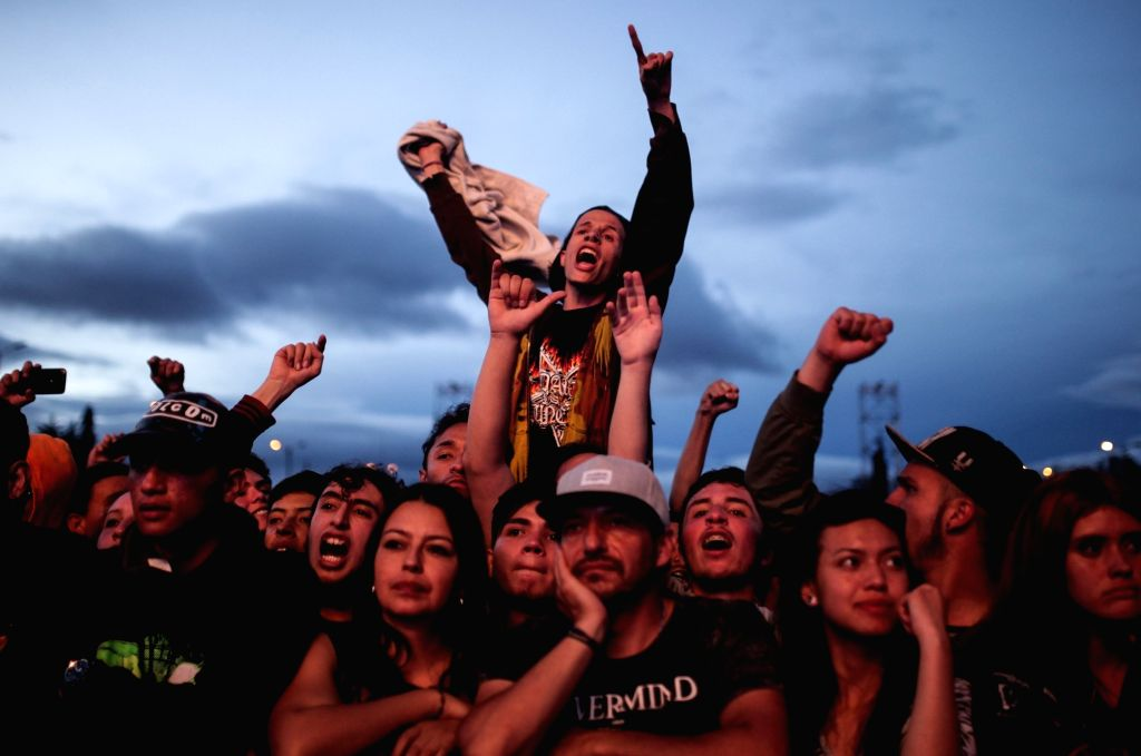 """BOGOTA, July 4, 2017 - Fans react during the 2017 """"Rock al Parque"""" music festival, in Bogota, capital of Colombia, July 2, 2017. The """"Rock al Parque"""" festival was held from July 1 ..."""