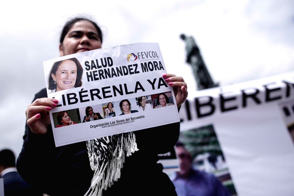 BOGOTA, May 26, 2016 - A person takes part in a demonstration to demand the liberation of the Colombian-Spanish journalist Salud Hernandez and two other journalists of a TV channel, in Bolivar ...