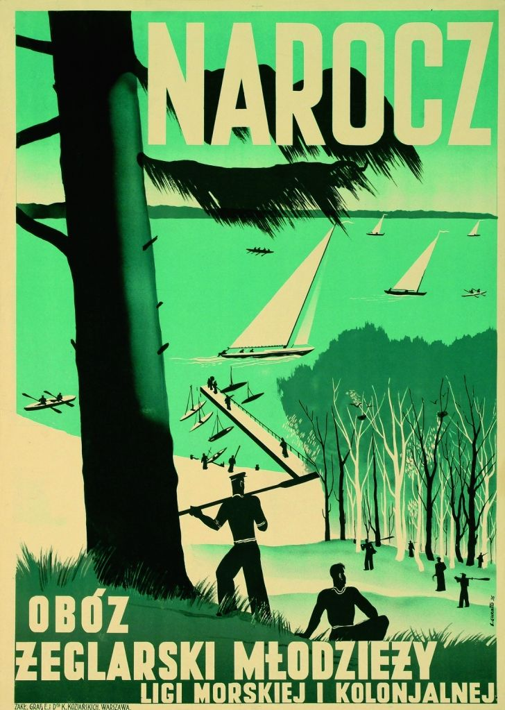 Bolesław Surałło-Gajduczeni (1906-1939); Lake Narocz. Sailing camp for youth of the Maritime and Colonial League; Date: 1935. (Source: Polish Institute, New Delhi)