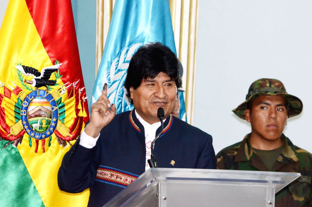 Bolivia's President Evo Morales speaks during a ceremony to issue the Report on Coca Crops Monitoring 2014 of the United Nations Office on Drugs and Crime (UNODC) in ...
