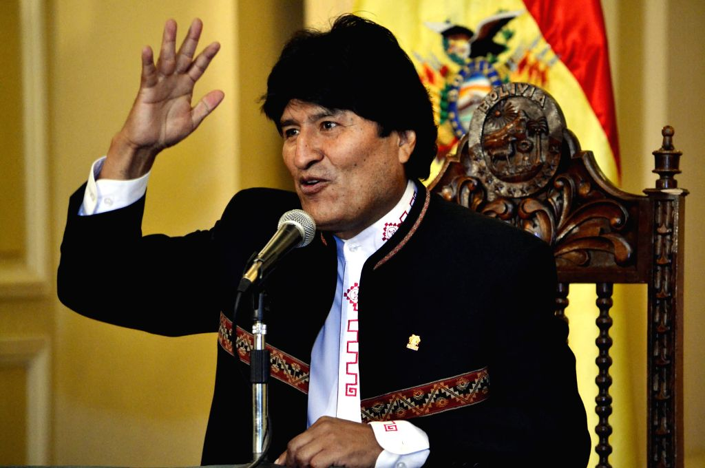 Bolivia's President, Evo Morales, takes part in a press conference about the new meeting with the former Bolivian Presidents for the allocation of specific tasks in ...