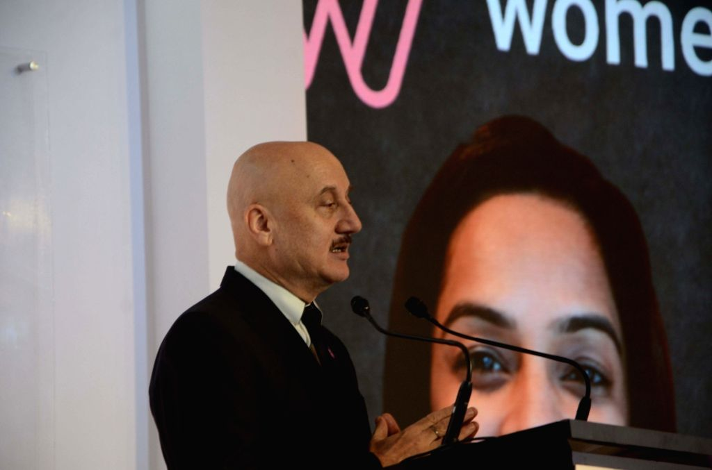 """Bollywood Actor Anupam Kher participate the Global India """"Women will/ today 'Preface of real women' conference in Mumbai on Nov. 19, 2016. - Anupam Kher"""