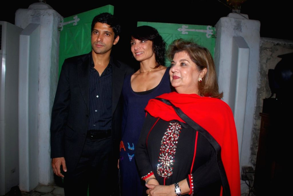 "Bollywood actor Farhan Akhtar with friends at the screening of english play ""Vagina Monologues"" ."