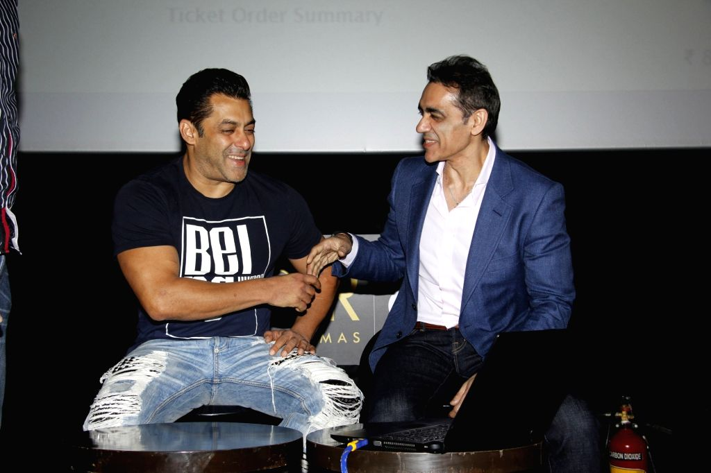Bollywood actor Salman Khan and Ajay Bijli, CMD, PVR Ltd during the announcement of the association with Being Human Foundation and PVR Cinemas, in Mumbai, on June 23, 2017. - Salman Khan