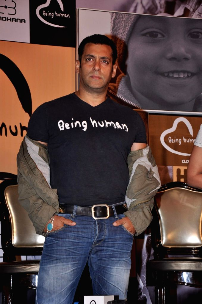 Bollywood actor Salman Khan at the Being Human launch event in Mumbai.