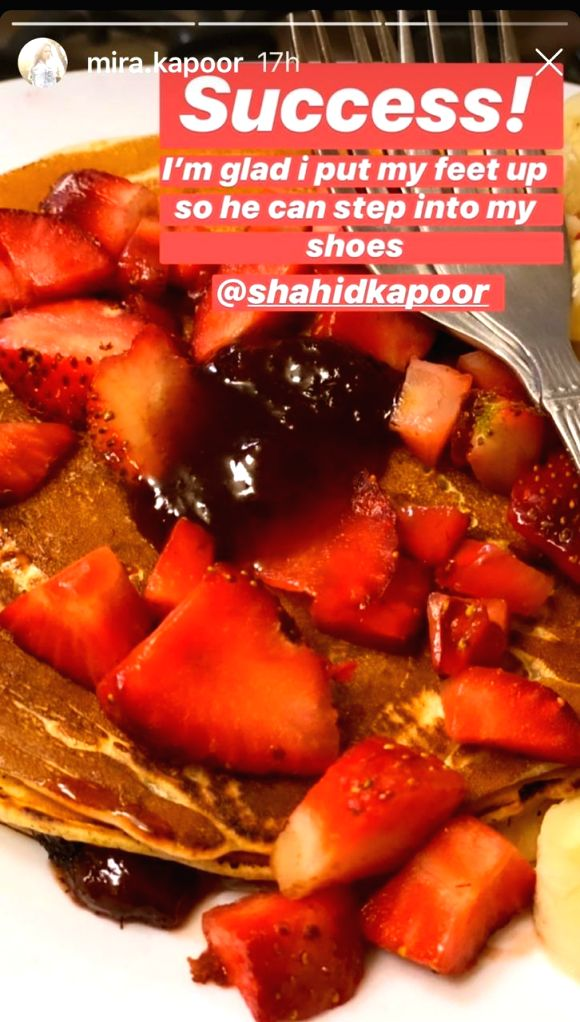 Bollywood actor Shahid Kapoor took over the kitchen to treat his wife Mira Rajput with some pancakes. - Shahid Kapoor