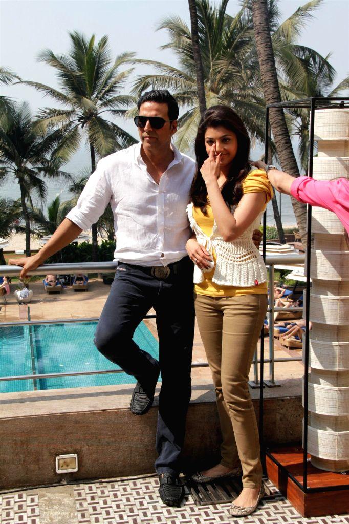 Bollywood Actors Akshay Kumar & Kajal Agarwal at media interviews for film SPECIAL 26 at Hotel Novotel in Juhu, Mumbai - Akshay Kumar
