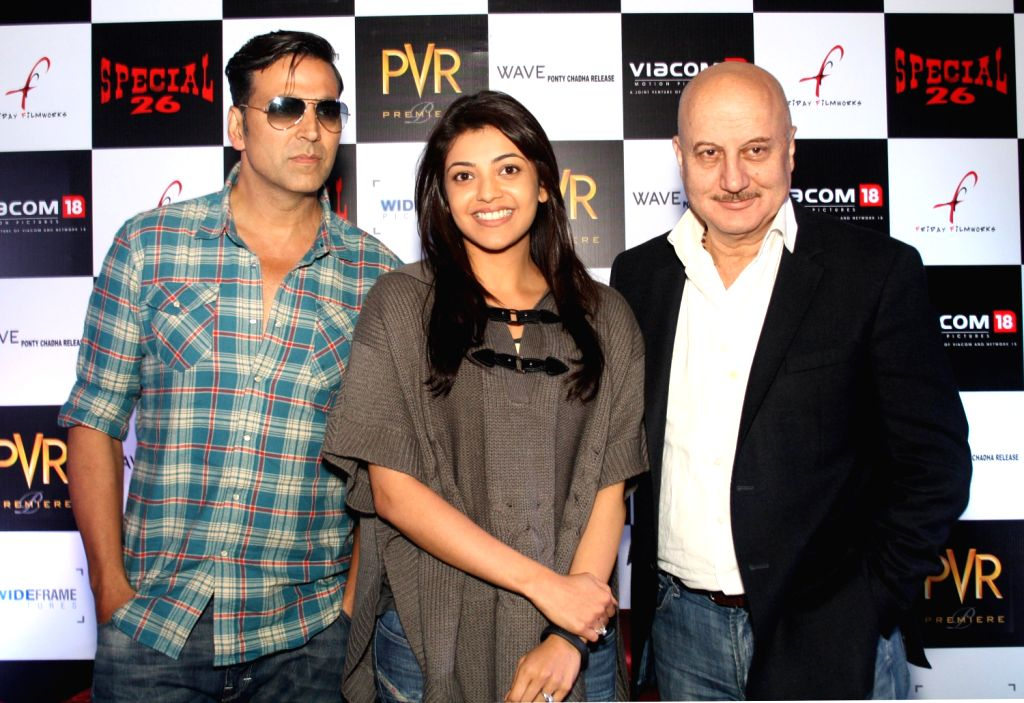Bollywood actors Akshay Kumar, Kajal Aggarwal and Anupam kher at the press conference of film ``Special 26`` in PVR, New Delhi 31 Jan 2013. - Anupam