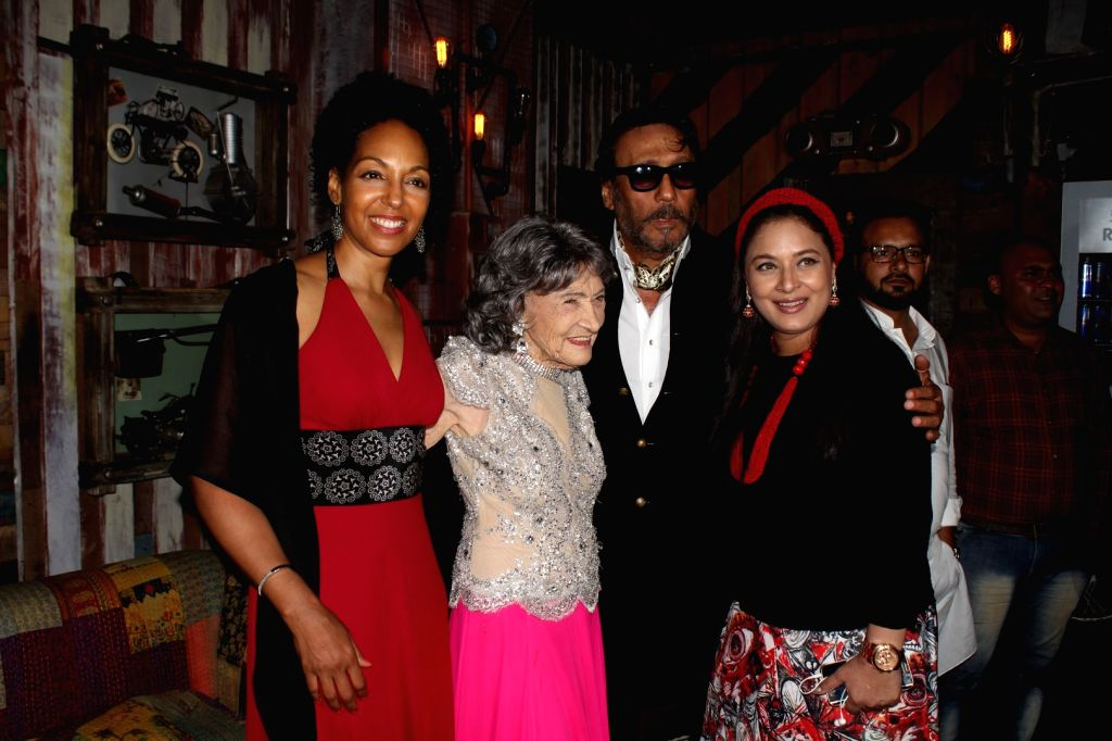 Bollywood actors Jackie Shroff and Sharbani Mukherjee with Tao Porchon Lynch, in Mumbai on June 27, 2017. 99 year old Tao Porchon Lynch receives a cetificate as the World's Oldest Ballroom Dancer. - Jackie Shroff and Sharbani Mukherjee