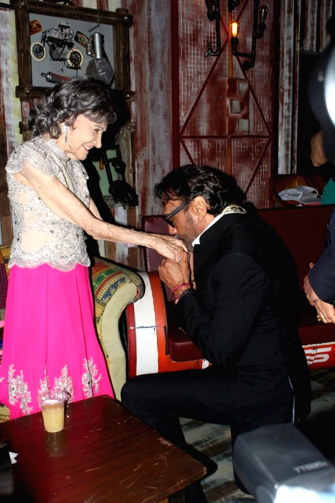 Bollywood actors Jackie Shroff with Tao Porchon Lynch, in Mumbai on June 27, 2017. 99 year old Tao Porchon Lynch receives a cetificate as the World's Oldest Ballroom Dancer. - Jackie Shroff