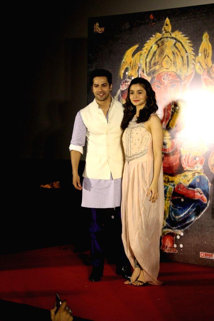Bollywood actors Varun Dhawan and Alia Bhatt during the song launch Deva Deva from the upcoming Marathi film Bhikari in Mumbai, on June 26, 2017. - Varun Dhawan and Alia Bhatt