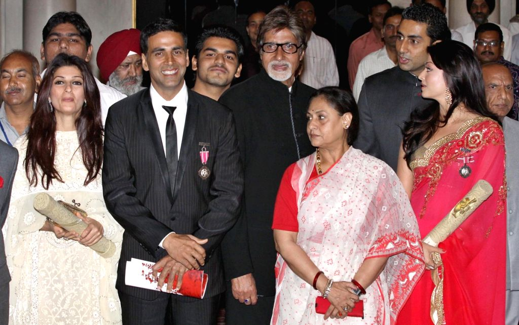Bollywood actress Aishwarya Rai Bachchan,actor Akshaya Kumar with Abhishek Bachchan, Amitabh Bachchan,Jaya Bachchan and Twinkle Khanna after receiving Padma Shri award at Rashtrapati Bhawan in New Del