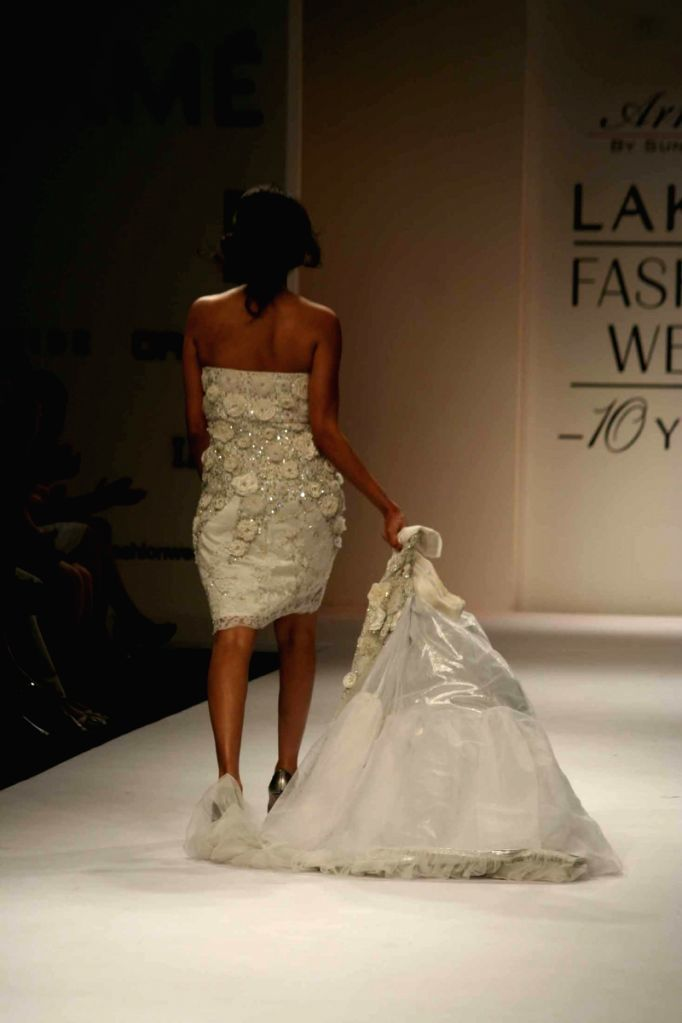 Bollywood actress Jiah Khan walks the ramp for fashion designer Sunaina Puri at the ongoing autumn/winter edition of Lakme India Fashion Week in Mumbai.