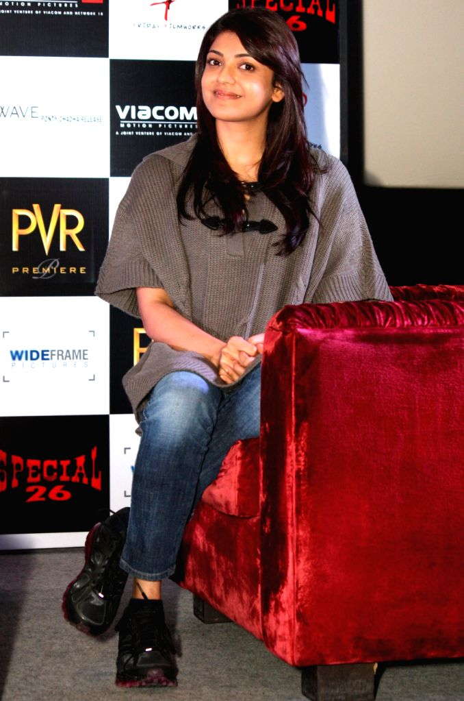 Bollywood actress Kajal Aggarwal at the press conference of film ``Special 26`` in PVR, New Delhi 31 Jan 2013.