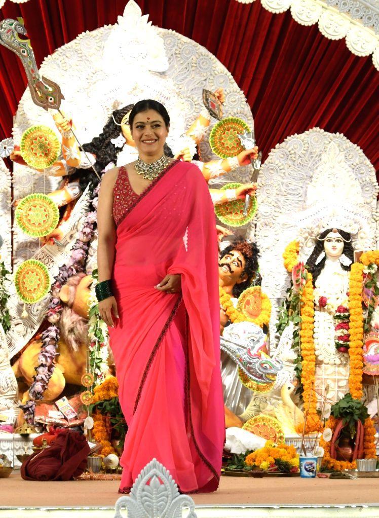 Mumbai:Bollywood Actress Kajol At North Bombay Durga Pooja Samiti on The  first day of Durga puja ...