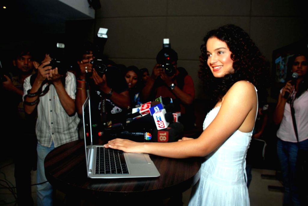 Bollywood actress Kangana Ranaut launches her own website in Mubmbai..