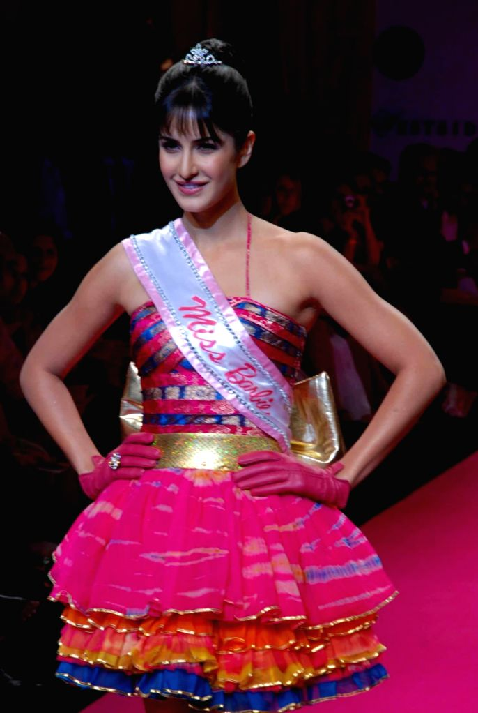 Bollywood actress Katrina Kaif walked the ramp as a Barbie at the Lakme fashion week 2009.