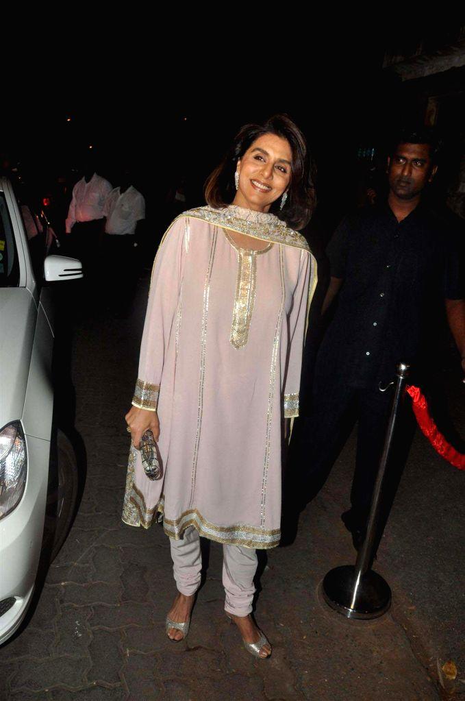 :Bollywood actress Neetu Singh at Saif Ali Khan and Kareena Kapoor Sangeet Ceremony at their new house in Bandra, Mumbai. (Photo: IANS).