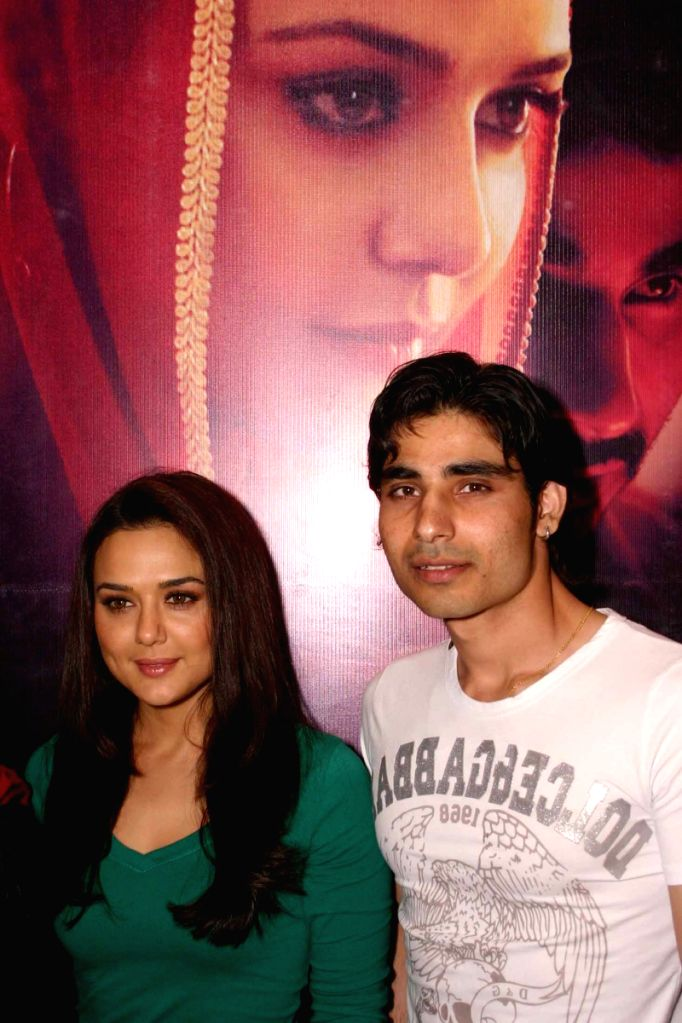 "Bollywood actress Preity Zinta And Vansh Bhardwaj  at a press meet for promotion of  her new film "" Videsh-Heaven on Earth"",in New Delhi on Friday."