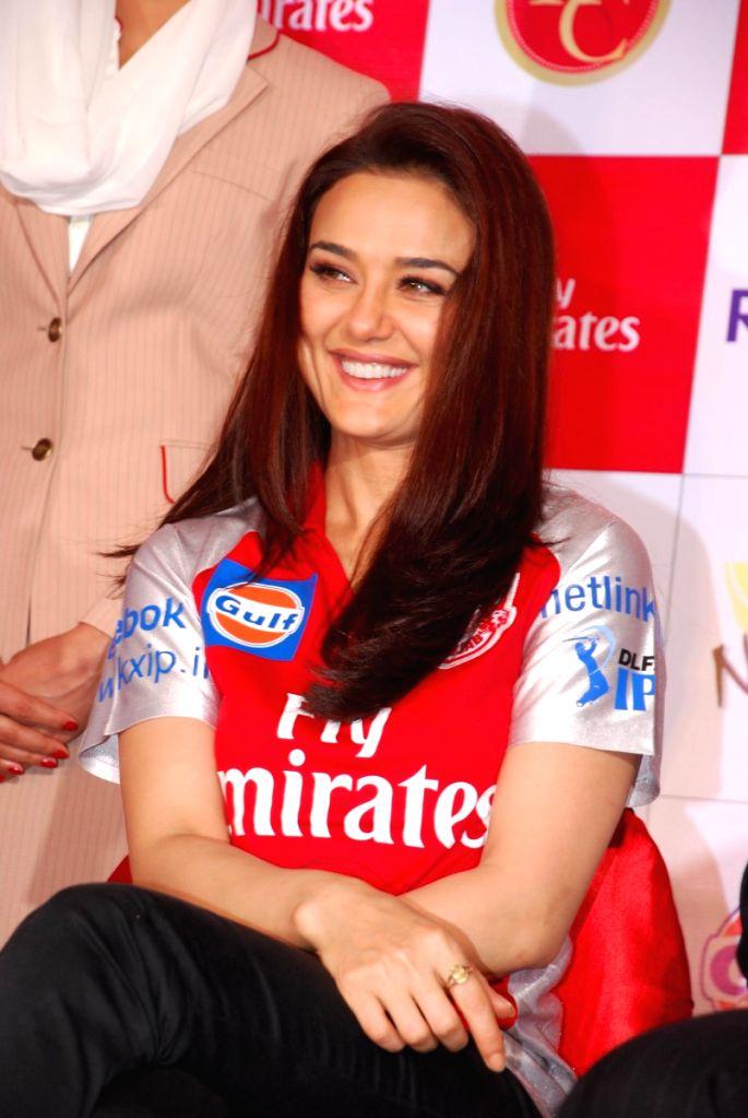 Bollywood Actress Preity Zinta at IPL press meet.