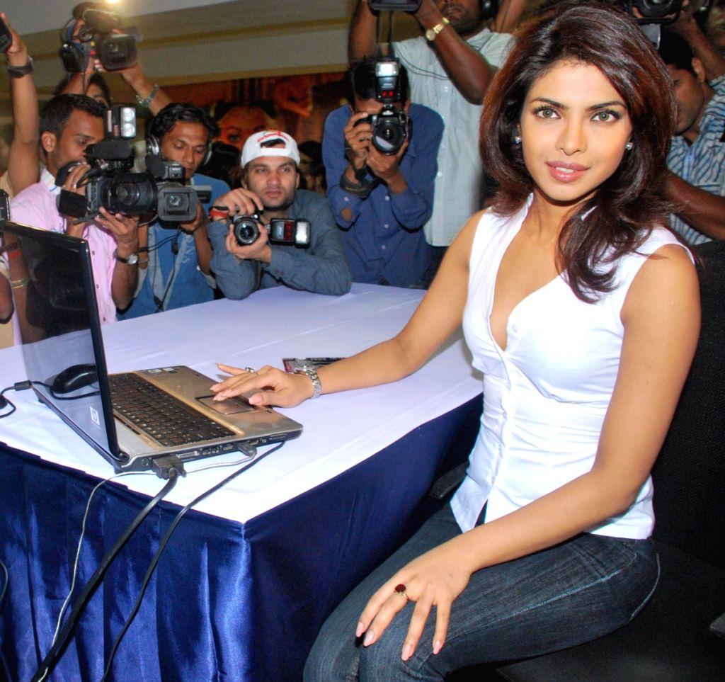 "Bollywood actress Priyanka Chopra launches Yash Raj website ""Pyaar Impossible"" at Yash Raj Studios, in Mumbai on Tuesday, May 12."
