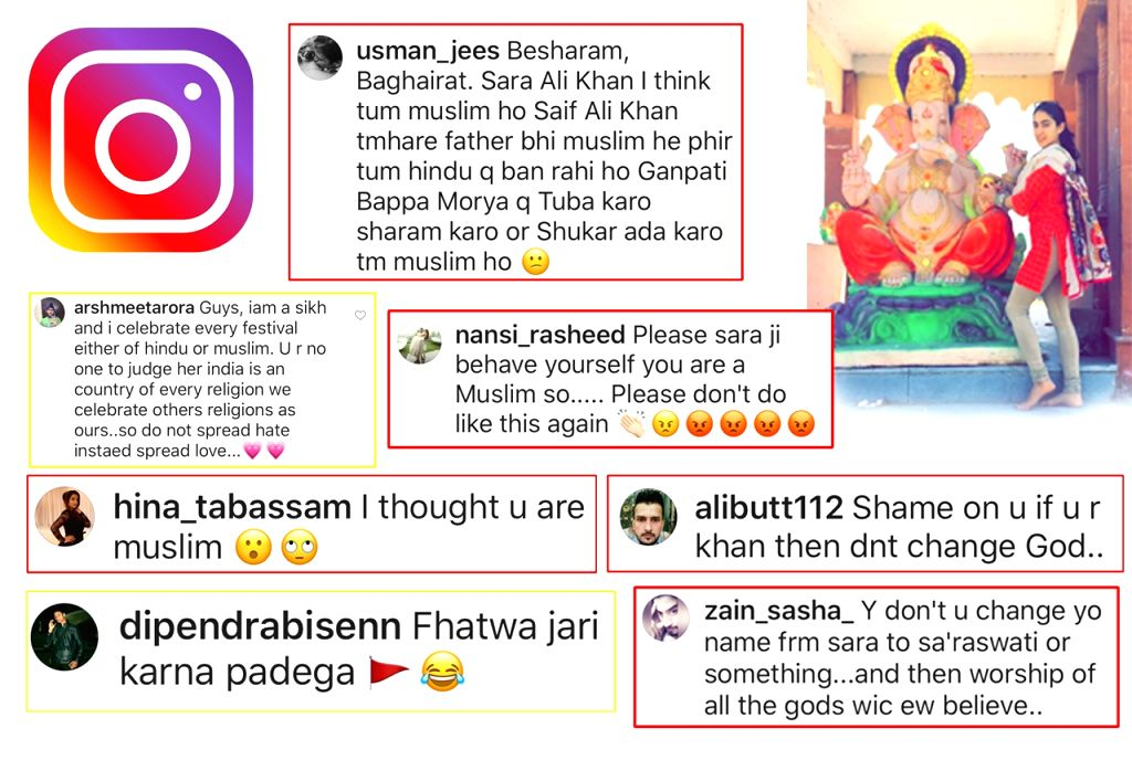 Bollywood actress Sara Ali Khan has been attacked on religious ground after she shared a photograph celebrating Ganesh Chaturthi, one even went to the extent of asking for the invocation of fatwa against her. Sara, daughter of actor Saif Ali Khan and - Sara Ali Khan, Saif Ali Khan and Amrita Singh