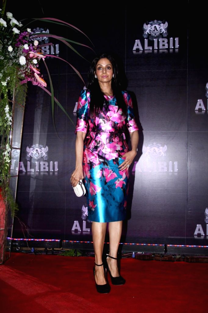 Bollywood actress Sridevi during the celebration of her 50th birthday in Mumbai on August 17, 2013. Filmmaker Boney Kapoor has thrown a lavish party to celebrate his Bollywood actress wife Sridevi`s . - Kapoor