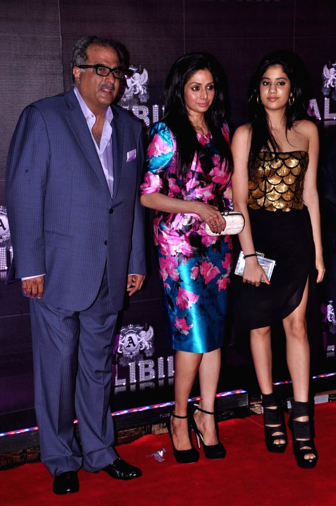 Bollywood actress Sridevi with daughter Jahnavi and husband Boney Kapoor during the celebration of her 50th birthday in Mumbai on August 17, 2013. Filmmaker Boney Kapoor has thrown a lavish party to . - Kapoor