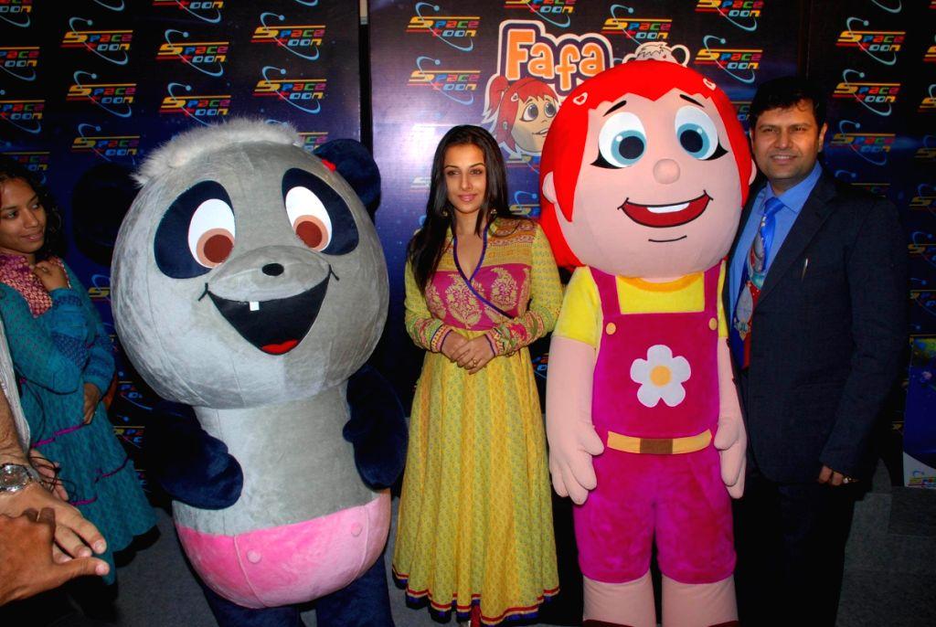 "Bollywood actress Vidya Balan launches new characters on space toon ""Fafa and Juno"" in Mumbai."