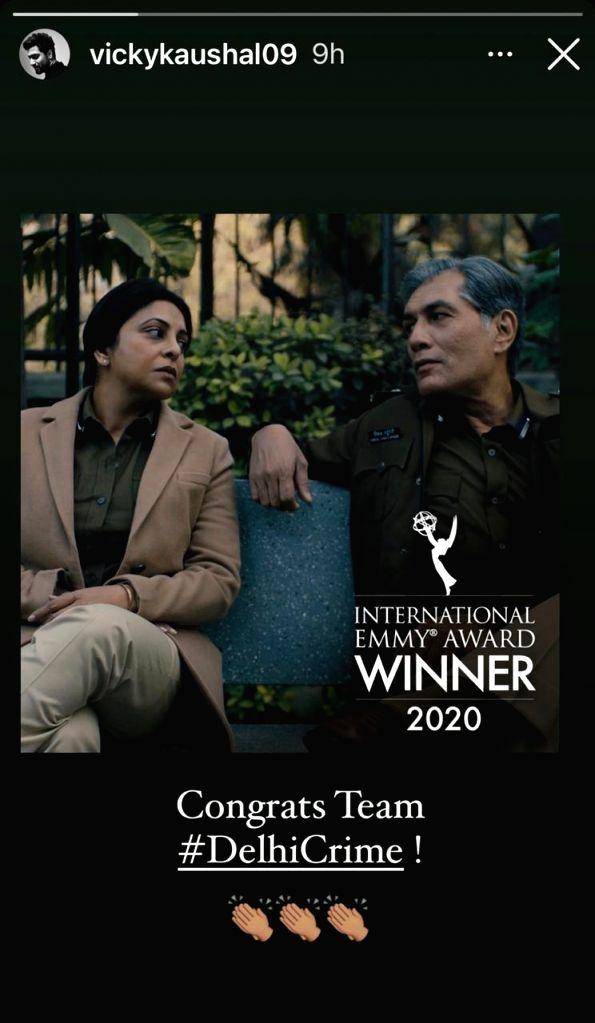 Bollywood congratulated team 'Delhi Crime' on international Emmy win.