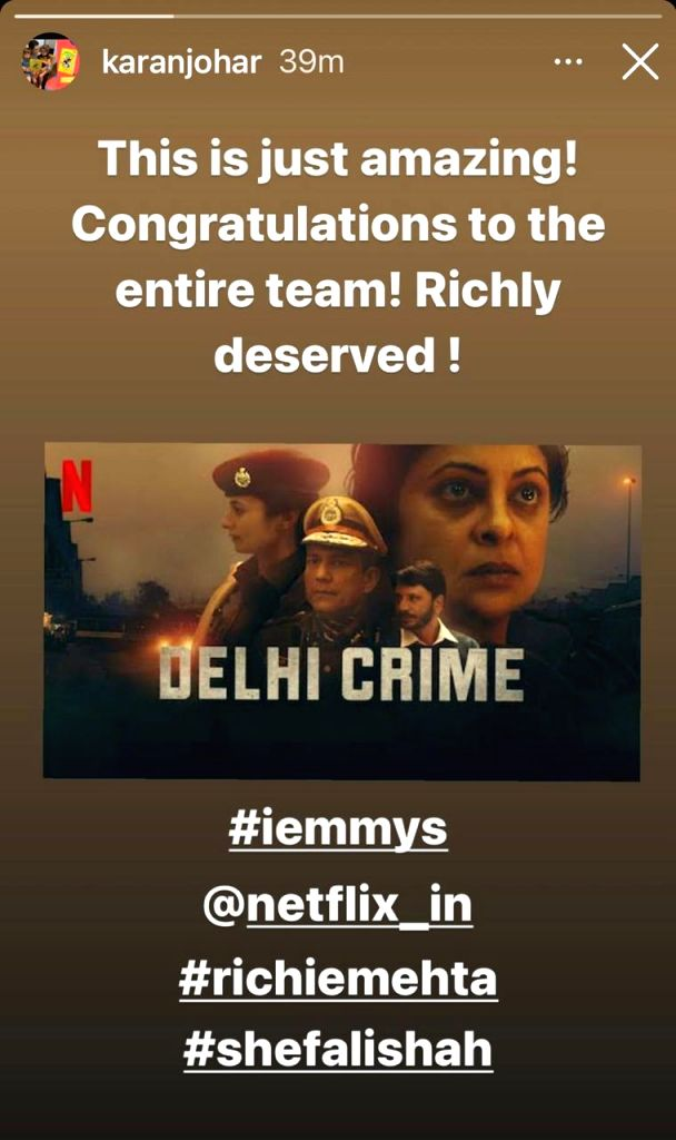 Bollywood congratulated team 'Delhi Crime' on international Emmy win.