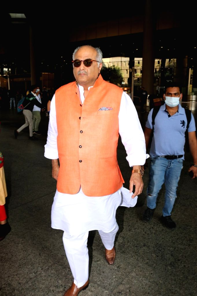 Bollywood film director Boney Kapoor spotted at the airport on Jan 26, 2021. - Boney Kapoor