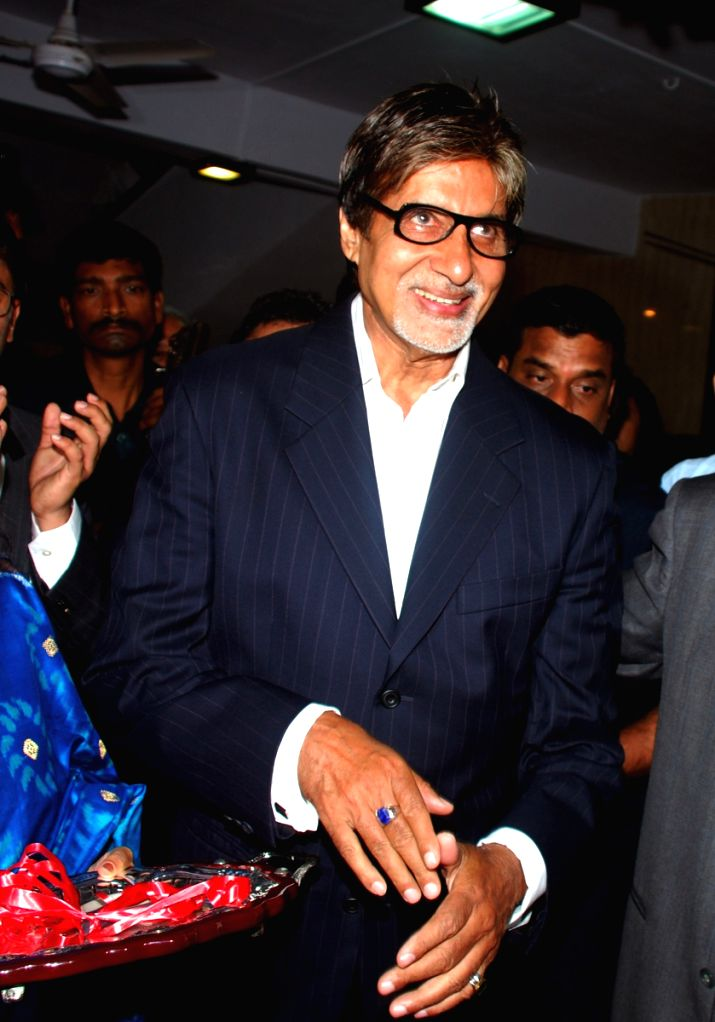 Bollywood megastar Amitabh Bachchan at the inauguration of Barfivalla Auditorium at the Cosmopolitan Education society in Mumbai Sunday night. Amitabh was also the chief guest of the event.