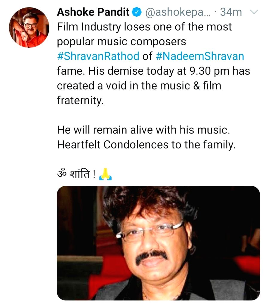 Bollywood mourns demise of composer Shravan Rathod