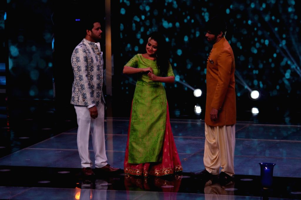 Bollywood singers Javed Ali, Neha Kakkar and Himesh Reshammiya on the sets of Sa Re Ga Ma Pa Lil Champs 2017 in Mumbai, on June 20, 2017.